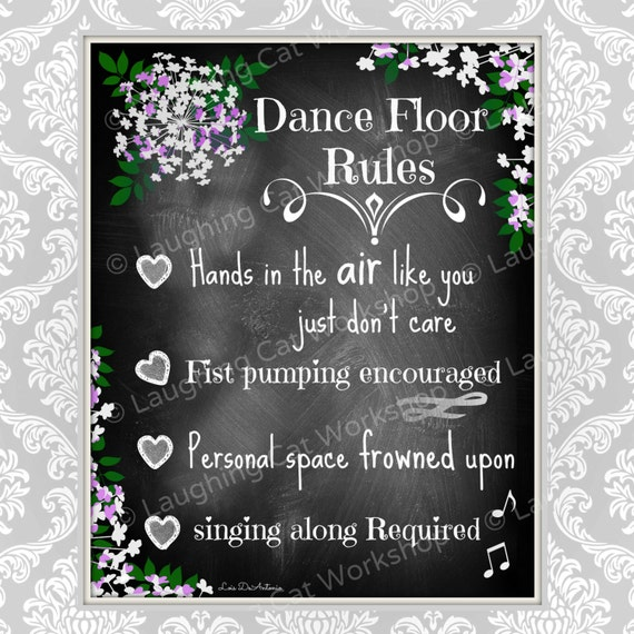 Funny Wedding Chalkboard Style Print Funny Party Decor Dance Etsy