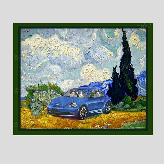 Van Gogh Funny Hipster Cat Art Racer Car Art Cat Meme Photobomb Whimsical Vangogh French Impressionist Volkswagen Vw Family Road Trip Art