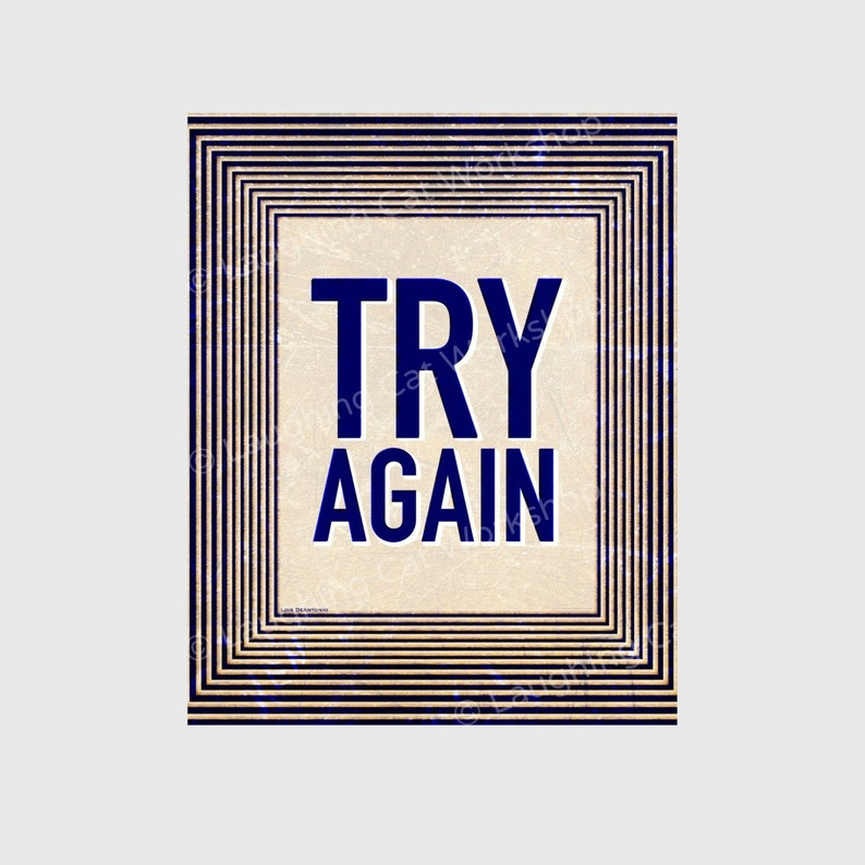 Try Again Inspirational Quote Art Teacher Back To School Etsy