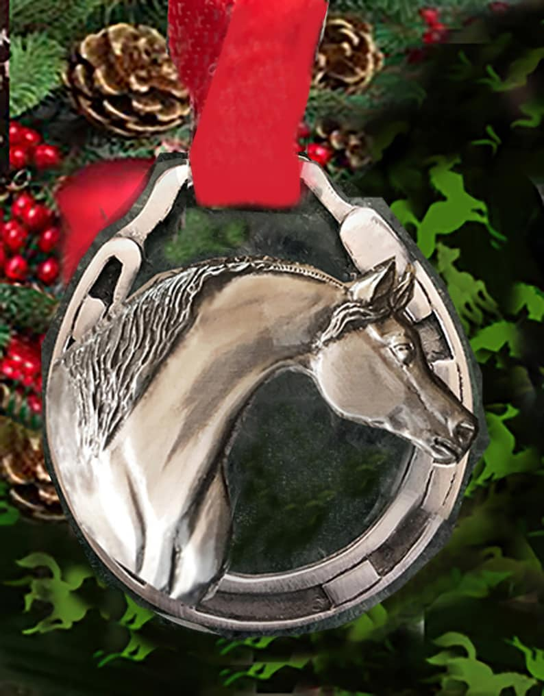Horse Christmas Ornament Arabian Horse in silvery pewter image 0