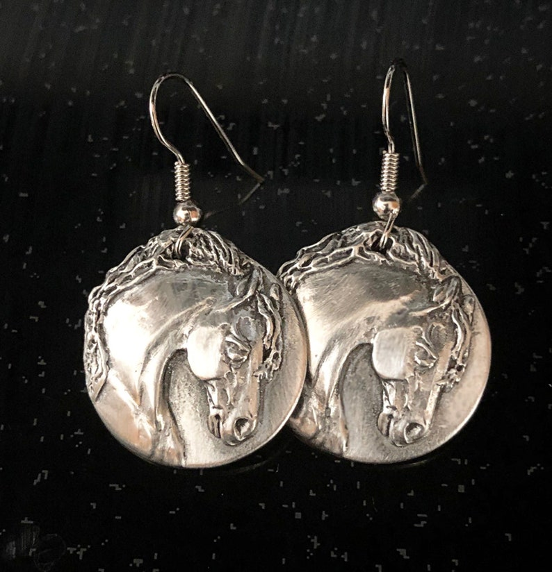 Horse earrings Friesian Stallion in high relief mirror image 0