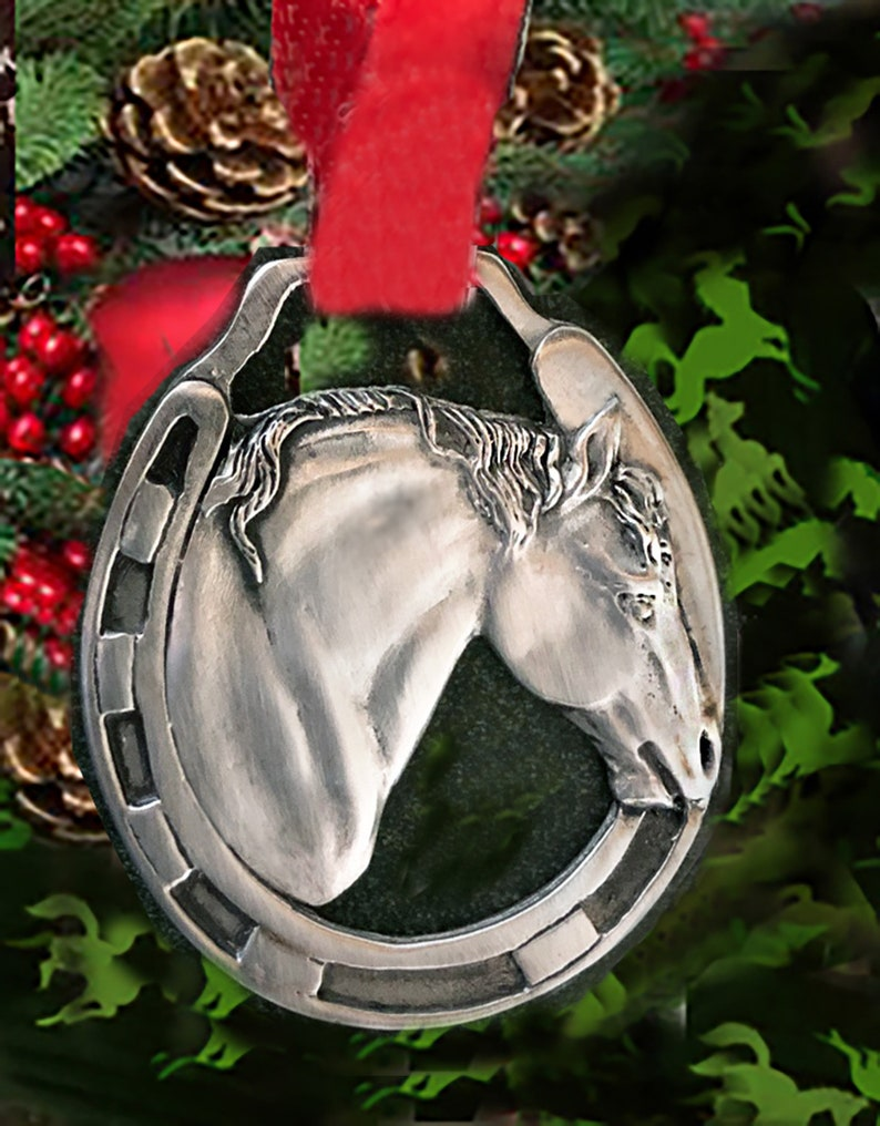 Draft Horse Christmas Ornament in polished silvery pewter image 0