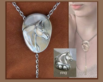 Quarter Horse Jewelry gift set, lariat necklace and ring