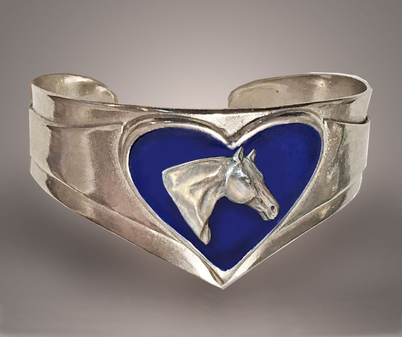 Horse Lady Gifts Bracelet Quarter Horse Heart in Blue mirror image 0