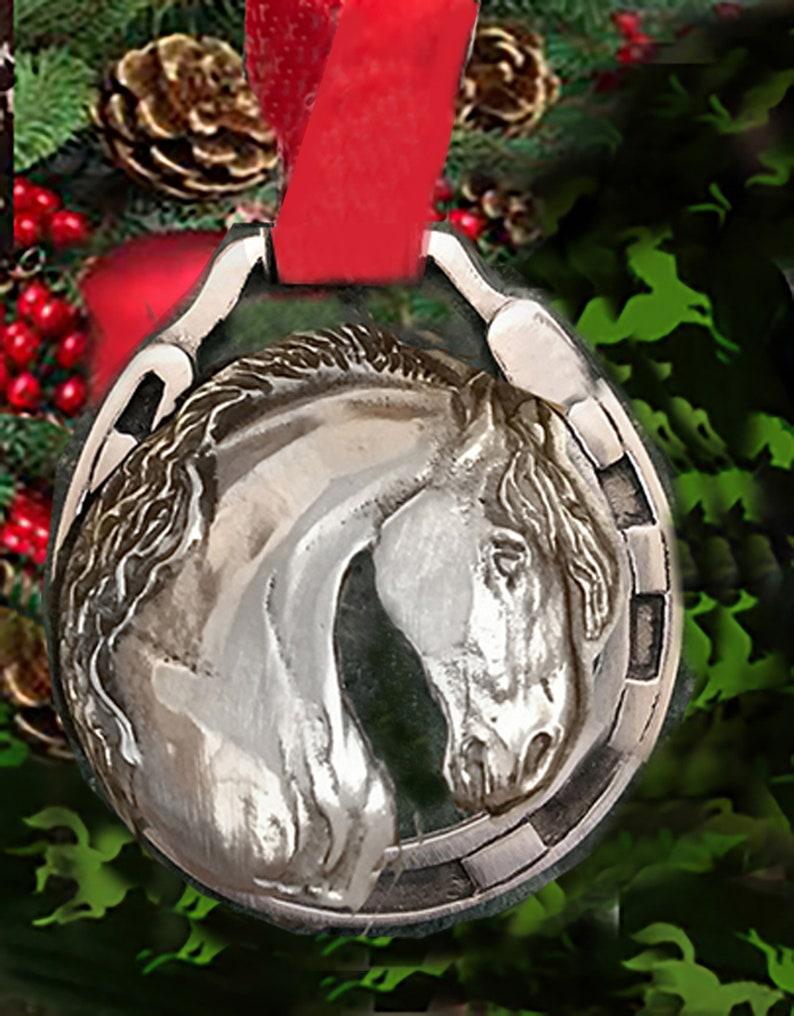 Horse Christmas Ornament Friesian Stallion horse shoe pewter image 0
