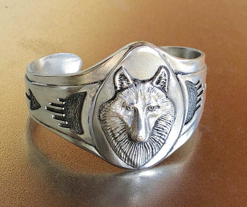 Wolf Spirit cuff bracelet with Native inspired pattern image 0