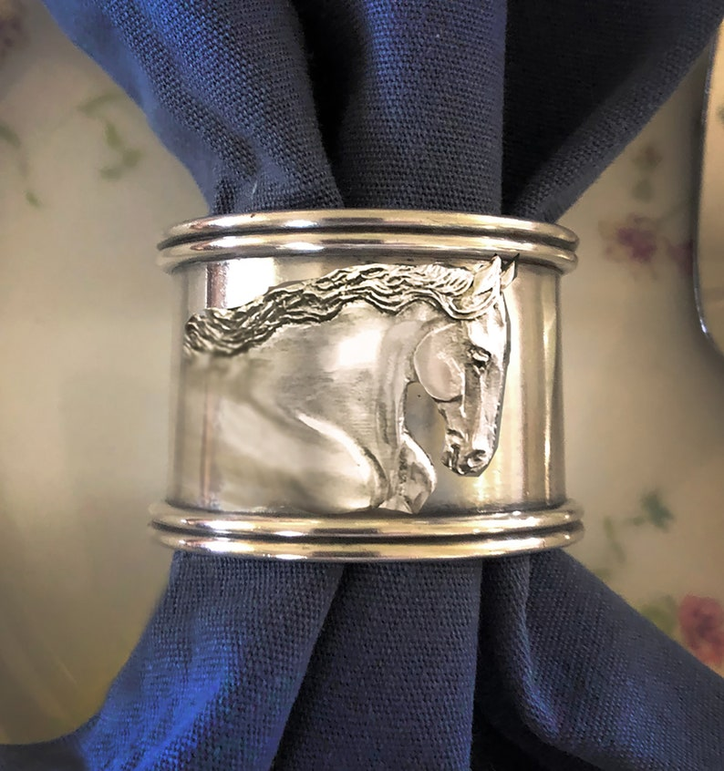 Friesian Horse Napkin Ring set of 4 in brilliant silvery image 0