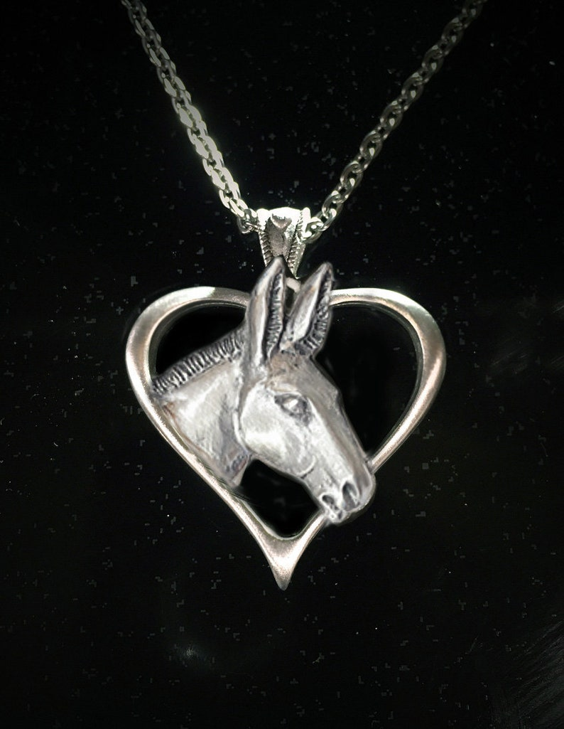Horse Lady Gifts jewelry Donkey Lovers Heart necklace mirror image 0