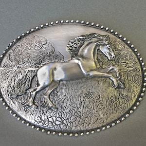 Solid Bronze Pony Express 125th Anniversary Commemorative Belt Buckle 1860-1985 Box