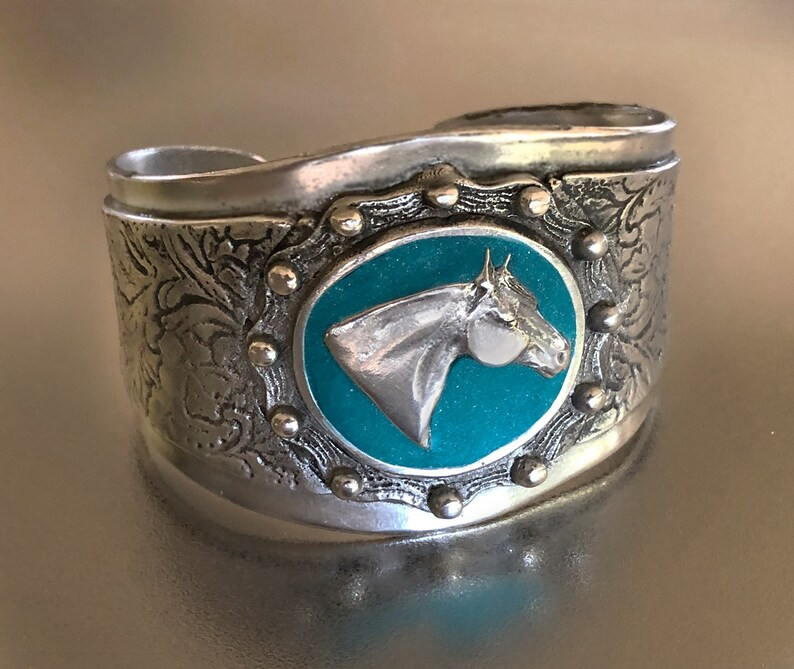 Quarter Horse Concho bracelet with turquoise clay inlay image 0