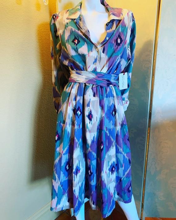 Jaeger Ikat Cotton Dress
