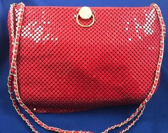 Red Sparkly Metal Mesh Handbag