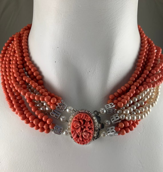 Faux Coral & Pearl Necklace