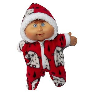 Cabbage Patch Doll Clothes Fits 14 Girl or Boy Red Santa Hooded Christmas Pajamas
