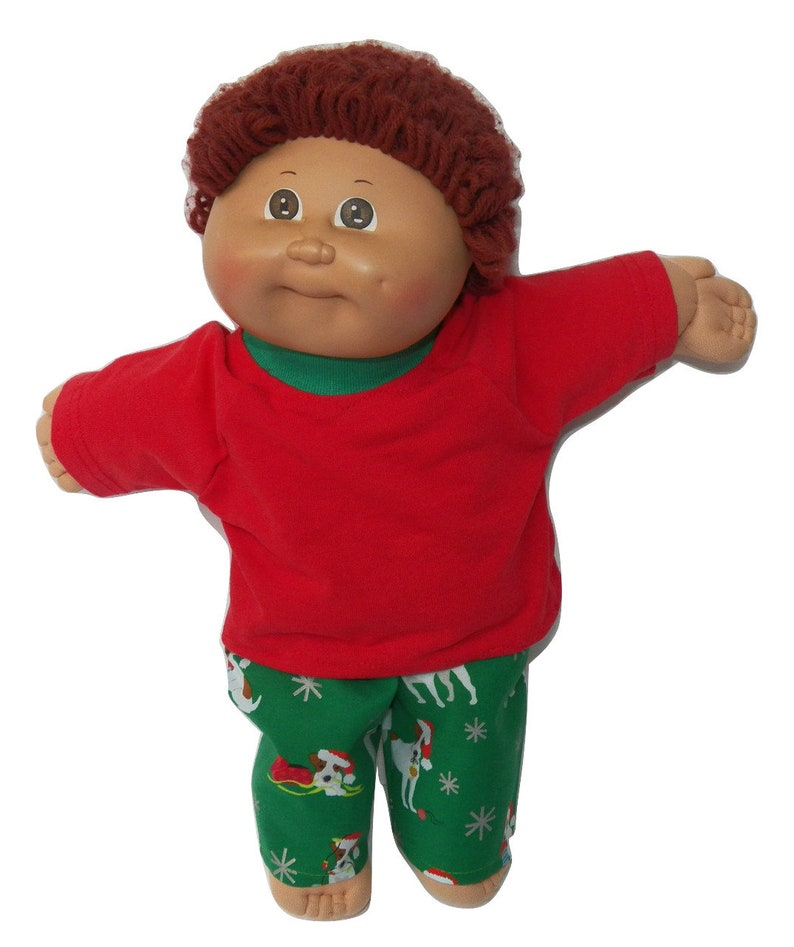 Cabbage Patch Doll Clothes Fits 16 Boy Includes One handmade Green Reindeer Pajamas NO DOLL
