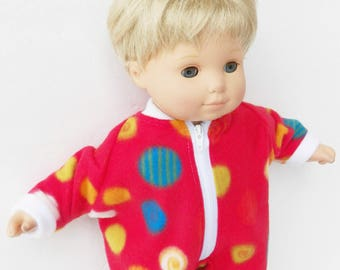 Baby Doll, HANDMADE CLOTHES, made to fit your 15 inch bitty baby, red polka dot pajamas