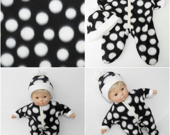 ag doll clothes, Handmade for the 15 inch bitty baby, black polka dot pajamas and hat