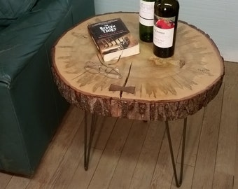 Wood Slice Slab Table Dramatic Natural Maple End Table Side Table