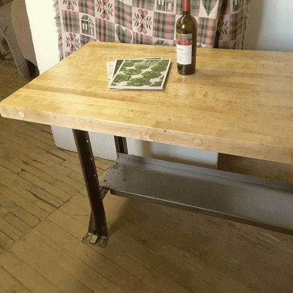 Kitchen Island Desk Workbench Table 60 X 28 Butcher Block Top Vintage  Industrial Heavy Duty INV 3