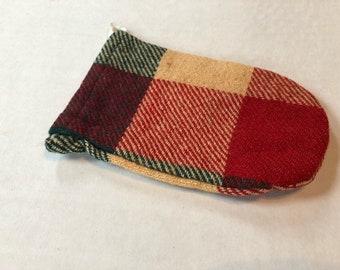 Vintage plaid wool pounch with drawstring 7cb8da197