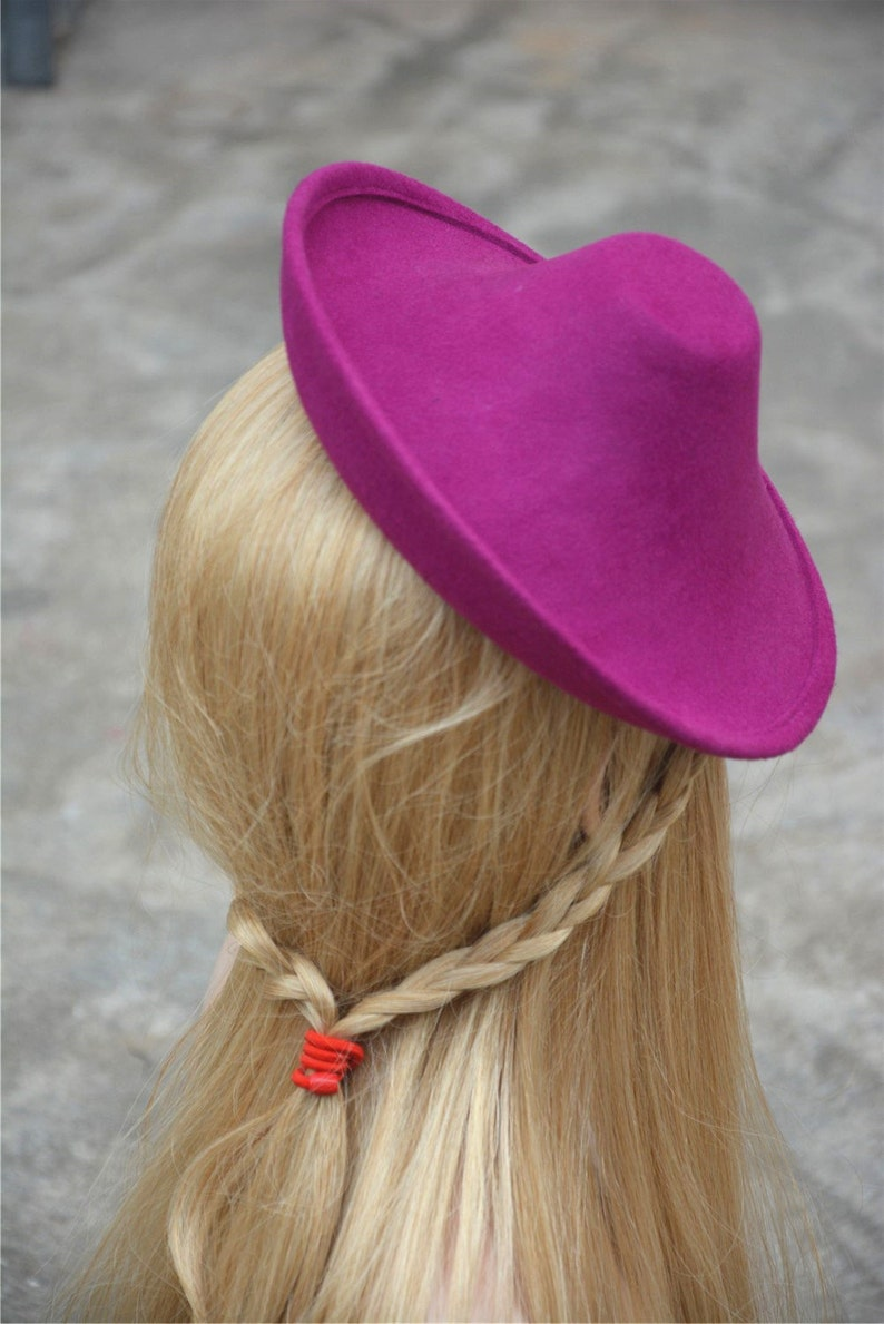 1 pcs Hot Pink New Circle Wool Felt Hat Millinery Supply Fascinator Base Cocktail Party A264