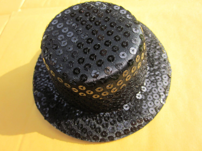 ea10a4b1cd068 10pcs Per Unit Black Mini Sequin Top Hat Millinery Fascinator