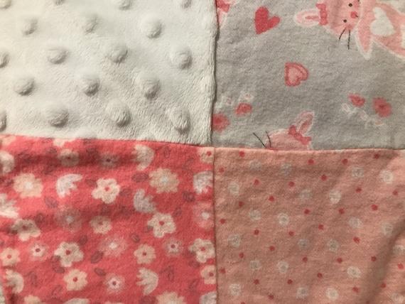 Gran conejo rosa centón temática conejo manta colcha de   Etsy
