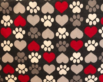 FLANNEL - Gray and Red Heart Fabric - Dark Gray Dog Fabric - White Paw Prints on Gray Fabric - Hearts and Paw Prints on Gray Flannel -