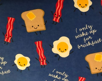 FLANNEL - Blue Breakfast Fabric - Bacon Fabric - Eggs and Toast Fabric - Croissant Fabric - Waffle Fabric - Egg Flannel - Toast Flannel