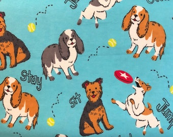 FLANNEL - Cute Blue Dog Fabric - Cute Blue  Dog Flannel - Playful Blue Dogs - Puppies - Puppy Dogs - Dogs and Frisbees - Happy Dogs- Pets