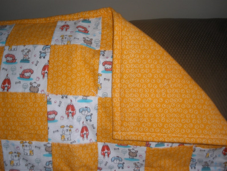 Dog Themed Orange and White Patchwork Quilt