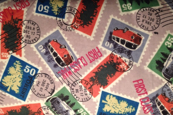 FLANNEL Postage Stamp Fabric Postal Travel Stamps