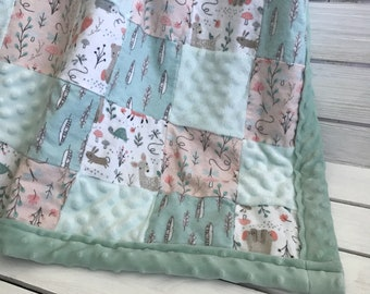 Large Forest Themed Patchwork Quilt - Bear Blanket -  Fox Blanket - Baby Shower Gift - Mint Green and Salmon Baby Quilt -   Baby Blanket