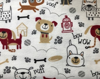 FLANNEL - Cute White Dog Fabric - Cute White Dog Flannel - Playful Dogs Fabric - Playful Dogs Flannel - Baby Dog Fabric - Dog Flannel