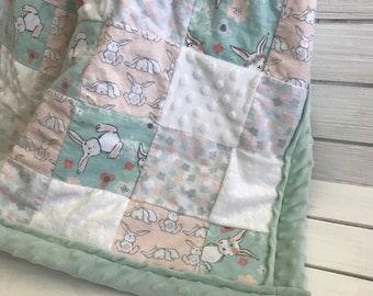 Large Bunny Themed Patchwork Quilt - Rabbit Blanket -  Bunnies Blanket - Cuddly Baby Quilt - Mint Green and Salmon Baby Quilt - Rabbit Quilt