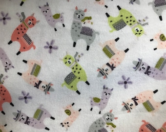 FLANNEL - Llama Fabric - Llama Flannel - Colorful Baby Llama Fabric - Teal Baby Llama Flannel - Baby Boy Fabric - Baby Girl Fabric