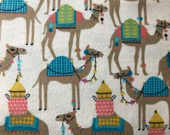 FLANNEL - Camel Fabric - Camel Flannel - Desert Animal Fabric - Middle Eastern Animal Flannel - North African Animal Fabric - Arabian Camel