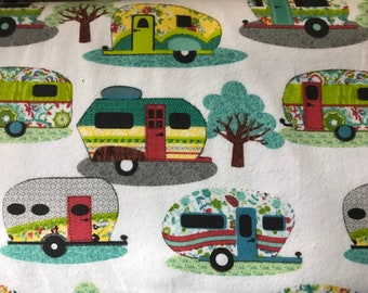 FLANNEL - Colorful Trailer Fabric - Camping Fabric - Colorful Trailer Flannel Manly Fabric - Camping Flannel - Fabric by the Yard