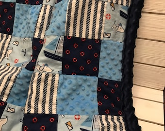 Large Nautical Themed Patchwork Quilt - Nautical Baby Blanket - Sailboat Quilt - Ocean Blanket - Sailing Quilt - Sailor Dog Blanket - Dogs