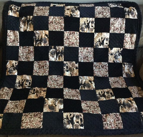 Large Pug And Dog Biscuit Themed Lap Quilt Pug Quilt Pug Etsy