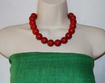 Red Statement Necklace Red Turquoise Chunky Bold  Red Beaded Necklace Wedding Jewelry Bridesmaids Necklace