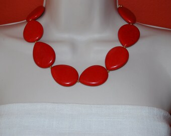 Red Statement Necklace Chunky Red Beaded Necklace Bold Necklace Jewelry