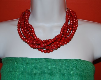 Dark Red Statement Necklace Red Turquoise Beaded Necklace Chunky  Bead Necklace Bold Bridesmaids Necklace Wedding Jewelry