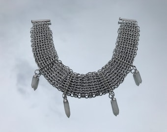 Chainmaille Collar in Moonstone