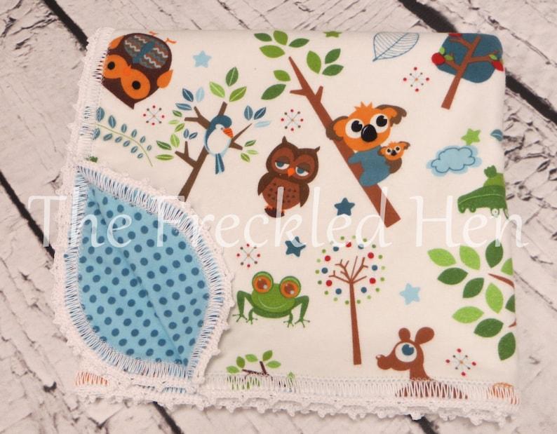 Baby blanket boy flannel baby boy receiving blanket crochet baby blanket edging jungle owl possum monkey frog aqua