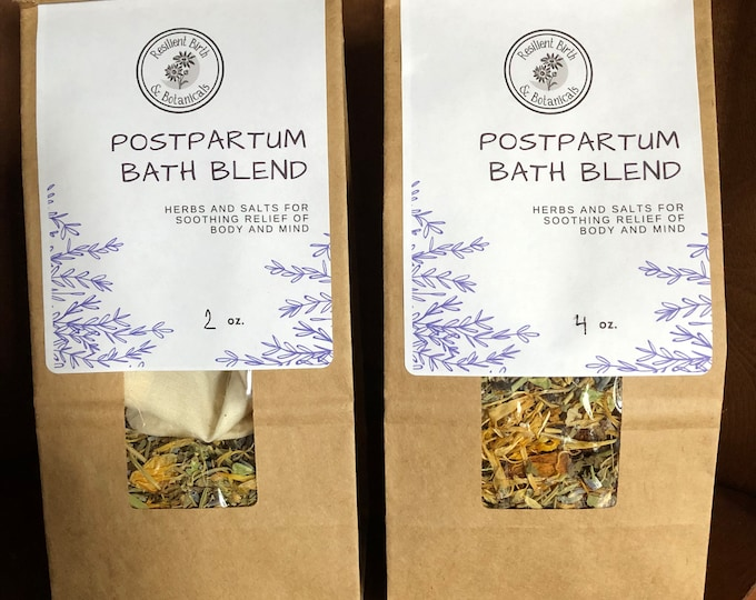 Featured listing image: Postpartum Bath Blend Herbal Sitz Bath for Soothing Relief After Birth- Looseleaf OR Pre-Packed in Tub Tea Bags