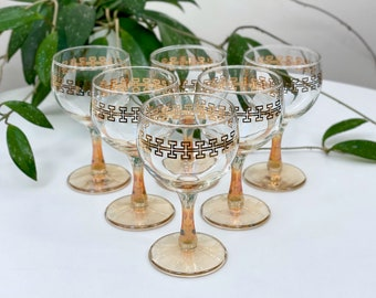 Crown Crystal Glass (Australia) 'Egypt' red wine glasses (x6)