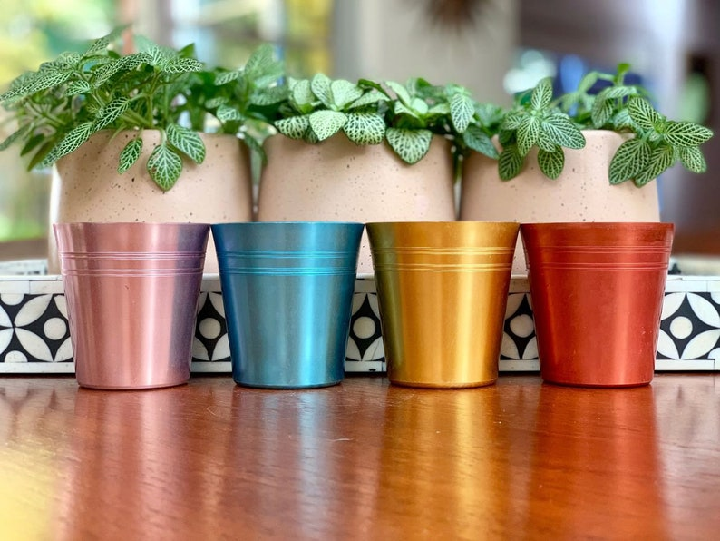 Vintage anodised cups, set of four - pink, blue, gold, coral