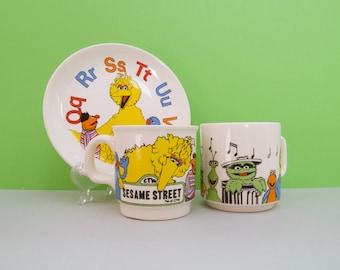 Children's Sesame Street breakfast set - mugs (x 2), plate