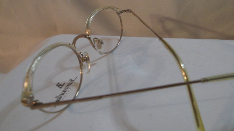 Vintage semi round gold metal frame eyeglasses